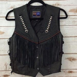 Penguins Ladies Indian western style  leather vest